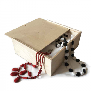 Set 2x Scatola in legno con coperchio scorrevole 21,2x18,2