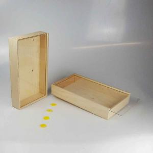 Set 2x Scatola in legno con coperchio scorrevole trasparente 31x17