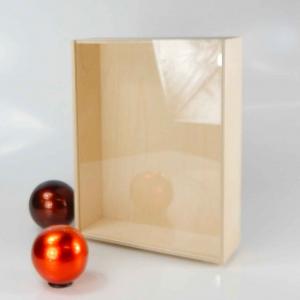 Scatola in legno con coperchio scorrevole trasparente per tre bottiglie