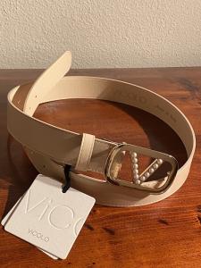 Cintura in pelle Vicolo con V di perle 3 colori