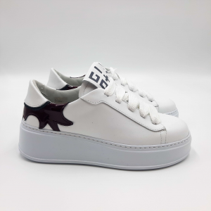 Sneakers bianche inserto bordeaux lucido GIO+