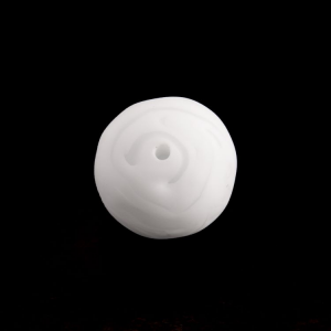 Perla Murano tonda satinato diam. 18 Melange bianco in pasta opaca