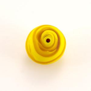 Perla Murano tonda satinato diam. 18 Melange giallo in pasta opaca