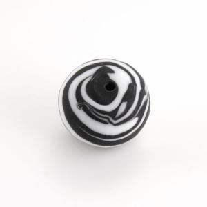 Perla Murano tonda satinato diam. 18 Melange nero e bianco in pasta opaca