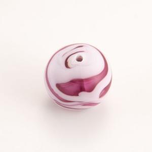 Perla Murano tonda satinato diam. 18 Melange rosa e rubino in pasta opaca