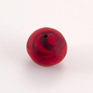 Perla Murano tonda satinato diam. 18 Melange rosso in pasta opaca