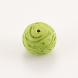 Perla Murano tonda satinato diam. 18 Melange verde in pasta opaca