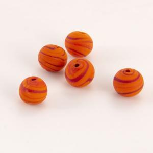 Perla Murano tonda satinato diam. 8 Melange arancio e rosso in pasta opaca