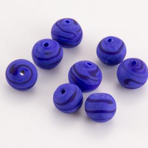 Perla Murano tonda satinato diam. 8 Melange blu in pasta opaca