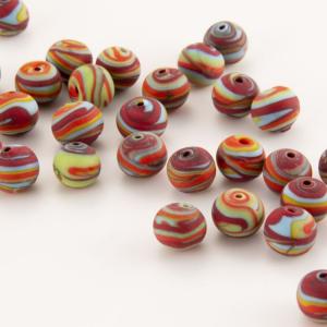 Perla Murano tonda satinato diam. 8 Melange multicolore in pasta opaca