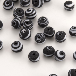 Perla Murano tonda satinato diam. 8 Melange nero e bianco in pasta opaca