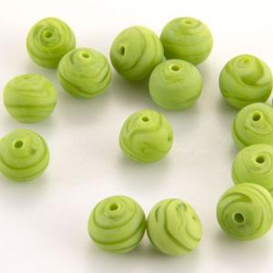 Perla Murano tonda satinato diam. 8 Melange verde in pasta opaca