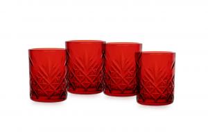 Set di 4 pezzi bicchieri liquore in vetro rosso Timeless cl 6