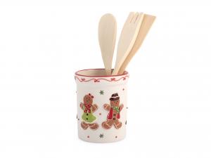 H&h Gingerbread Porta Mestoli, Ceramica, Con 3 Mestoli