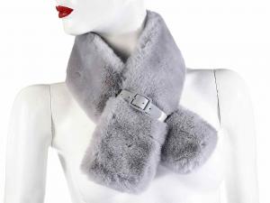 Scaldacollo grigio in morbida eco pelliccia con fibbia di chiusura