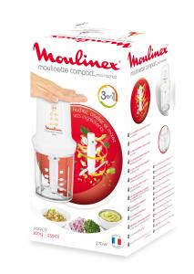Moulinex DJ3001 Moulinette Compact, 270 W, 43 Decibel, plastica, Bianco