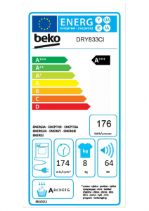 Beko DRY833CI asciugatrice Libera installazione Caricamento frontale 8 kg A+++ Bianco