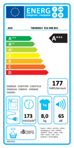 AEG T8 DBE 853 asciugatrice Libera installazione Caricamento frontale 8 kg A+++ Bianco