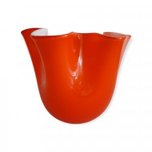 Vaso vetro fazzoletto arancio medio
