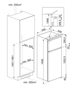 Smeg D8140F frigorifero da incasso 2 porte 220 lt h144