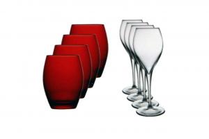 Confezione 4 calici in vetro trasparente e 4 bicchieri in vetro rosso Montecarlo