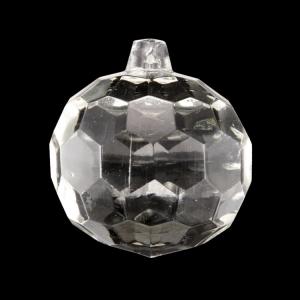 Sfera sfaccettata in cristallo antico di Boemia Ø50 mm colore cristallo trasparente. Pendente per lampadari antichi vintage.