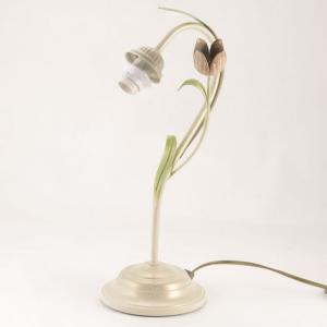 Lumetto a 1 luce, montatura avorio e oro con foglie e fiore colorati