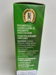 Bergamottella Dura Senza Zucchero peso netto 75 gr Ditta La Spina Santa Bova Marina