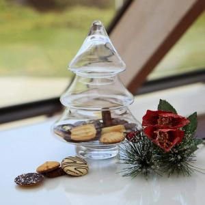 Biscottiera in vetro a forma di albero di Natale