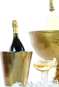 Secchiello champagne portabottiglie tondo, alluminio anodizzato oro, per 1 bottiglia