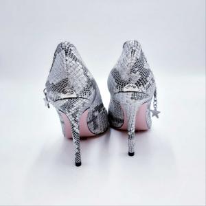 Decolleté Marilyn in pelle argento pitonata con cavigliera Liu Jo