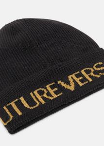 Cappello nero con logo dorato di Versace Jeans Couture