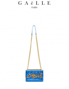 Borsa donna colore blu elettrico   tracolla in catena e tessuto   Marca GAELLE