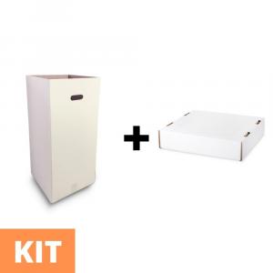 KIT - Contenitore in cartone per rifiuti raccolta differenziata + coperchio fermasacco