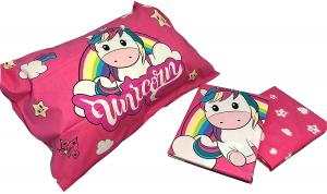 Unicorno, Completo Lenzuolo 1 Piazza, 100 % Cotone, Rosa