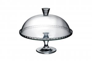 Alzata dolci pasticceria in vetro trasparente con campana