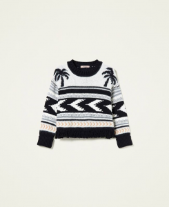 SHOPPING ON LINE TWINSET MILANO MAGLIA BOXY JACQUARD NEW COLLECTION PREVIEW FALL WINTER 2022-2