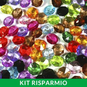 Confezione risparmio: 1000 ottagoni 14 mm in acrilico multicolore