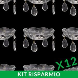 Confezione risparmio: 12 Bobeche lampadario in vetro veneziano con pendenti a mandorla Ø9,5 cm, foro Ø30 mm, 4 fori lateriali