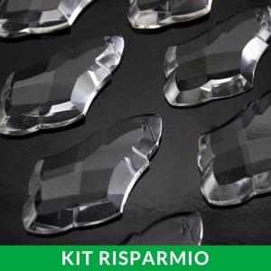 Confezione risparmio: 25 pezzi di placca altezza 75 mm cristallo puro di Boemia. Per restauri lampadari Maria Teresa