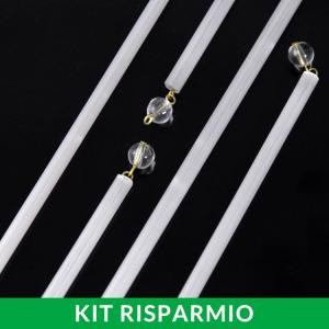 Confezione risparmio: 50 pezzi di strenna decorativa con cannetta in vetro seta liscio con perle trasparente.