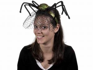 Cerchietto Halloween con veletta e ragno gambelunghe