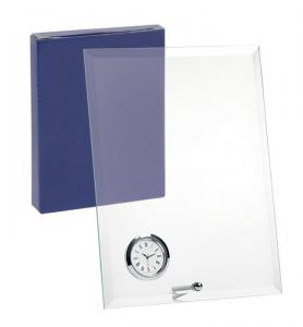 Vetro con orologio e supporto verticale
