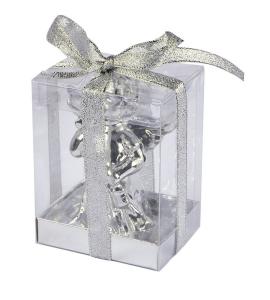 Candela grande angelo argento lucido