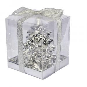 Candela albero Natale grande argento lucido
