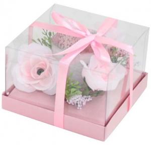 Candela bicchiere fiori rosa