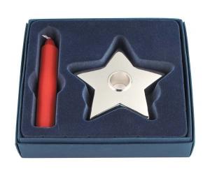 Portacandela stella con candela rossa