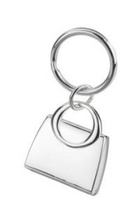 Portachiavi borsa con specchio e foto silver plated