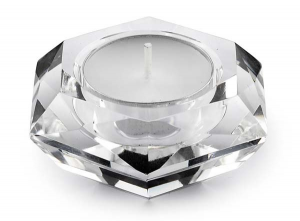 Portacandela in cristallo esagonale