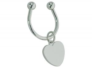 Portachiavi con piastrina cuore silver plated